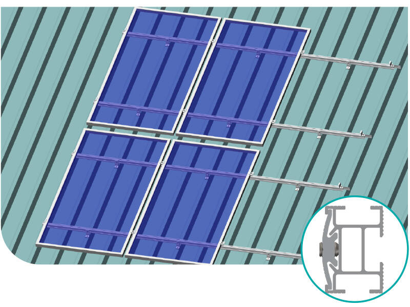 Solar panel mounting system for pitched metal roof
