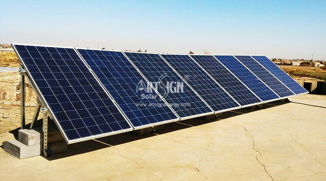 C type cartbon steel solar rooftop mounting structure with ballasted solution, without drilling roof.